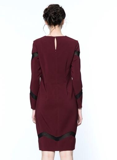 Random Uzun Kollu Elbise Bordo